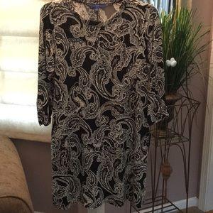 Brand new long sleeve black/white paisley dress
